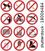 prohibition signs - vector - stock vector