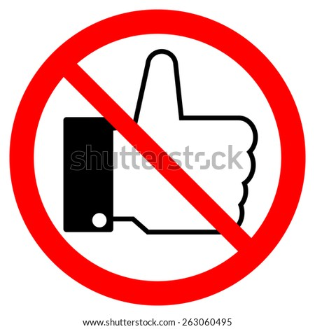 Prohibition thumb up sign on white background. Vector illustration.