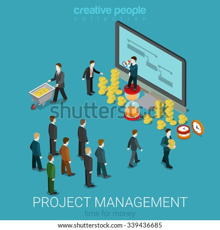 Project management business isometry concept flat 3d isometric web infographics vector illustration. Businesspeople come to manager take coin money for spent time. Creative people collection. - stock vector