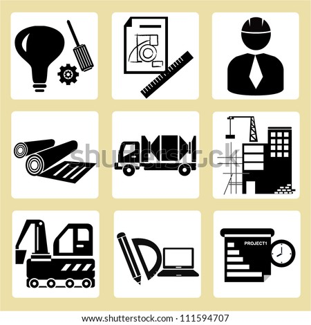 Project Management Civil Engineering Icon Set Stock Vector 111594707