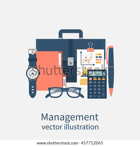 Project management, concept. Business planning. Time management. Flat design style vector illustration. Set of accessories for a successful business.