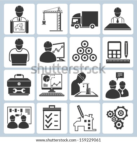 project management icons, engineering management icons - stock vector