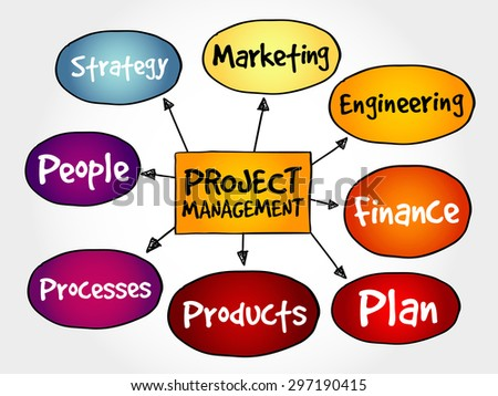 Project management mind map, business concept - stock vector