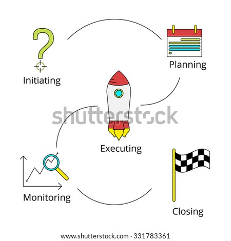 Project management processes icons set in colored style - stock vector