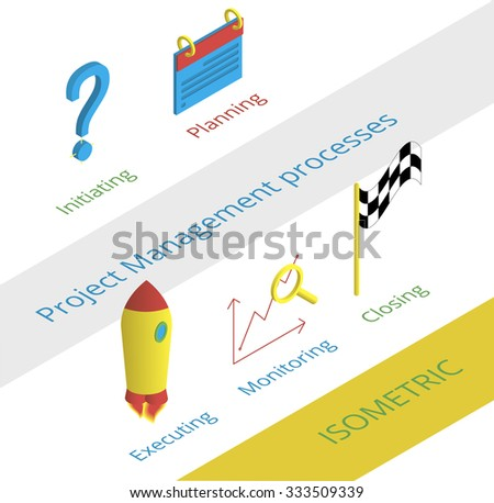 Project management processes icons set in isometric style - stock vector