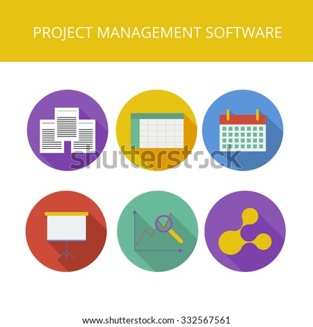Project management software icons set in flat style - stock vector