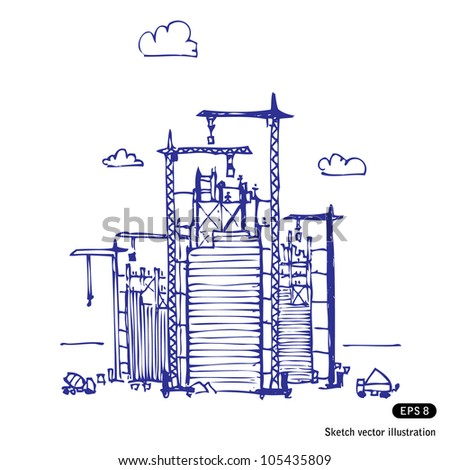 Project of construction. Hand drawn sketch illustration isolated on white background - stock vector