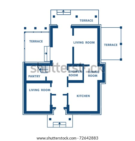 Project Of Ground Floor Vector House Blueprint
