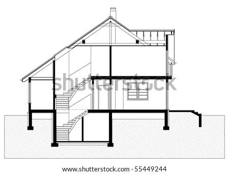 project of house in black-and-white color. elevation of building (You can specify the thickness of the lines of the drawing, directly how you need it) - stock vector