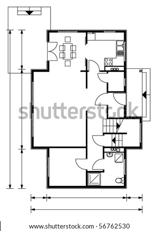 project of house in black-and-white color. ground floor (You can specify the thickness of the lines of the drawing, directly how you need it)