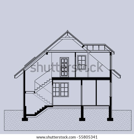 project of house in gray color. elevation of building (You can specify the thickness of the lines of the drawing, directly how you need it) - stock vector