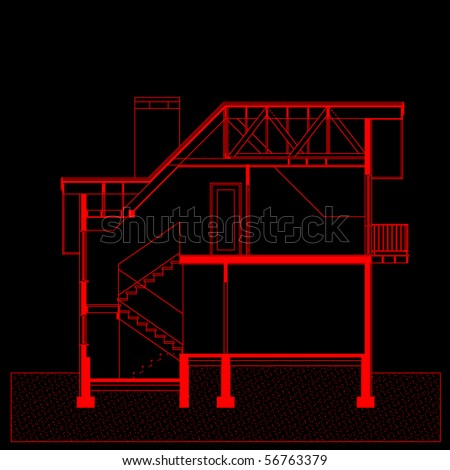 project of house in red color on black background. elevation of building (You can specify the thickness of the lines of the drawing, directly how you need it) - stock vector