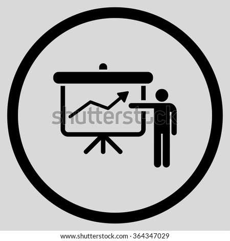 Project Presentation vector icon. Style is flat circled symbol, black color, rounded angles, light gray background.