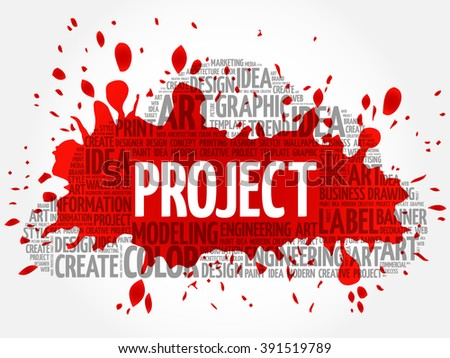 PROJECT word cloud, creative business concept background - stock vector