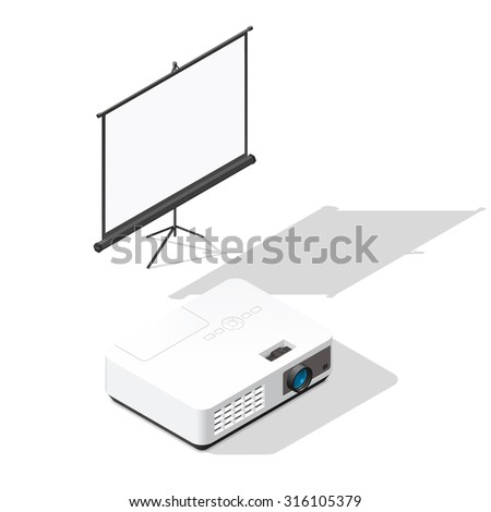 Projector and screen isometric icons set vector graphic illustration