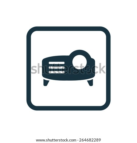 projector icon Rounded squares button, on white background  - stock vector