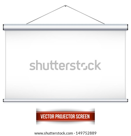 Projector screen. Can be used for your business presentations. School. Vector illustration