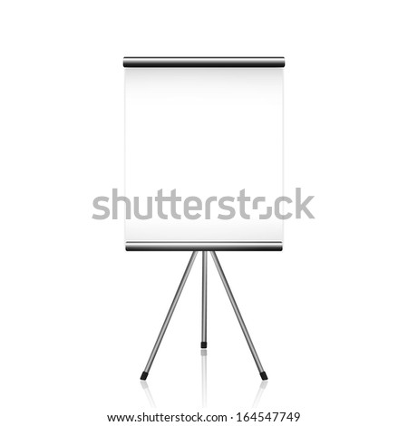 Projector screen tripod on white