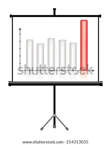 projector screen with business chart  - stock vector