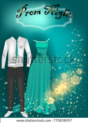 Prom Night Party Background Poster Flyer Stock Vector