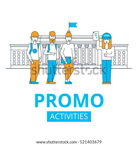 promo activities in university, students and promo girl, vector illustration