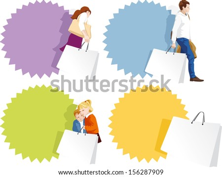 Promo badges set - fashionable man, woman, kids shopping. Copy space on shopping bags and sticker. Vector illustration - stock vector