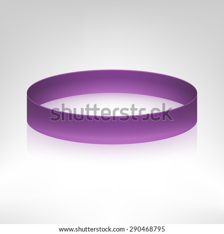 Promo bracelet. Violet silicone bracelet for hand. Vector illustration.