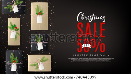 Promo Web Banner with Xmas Gift Boxes. Top View on Christmas Decoration with Paper Gifts for Happy New Year on Black Backdrop. Vector Illustration with Discount Offer. Greeting Card with Lettering.