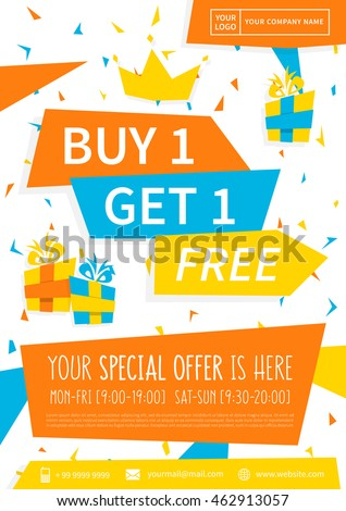 Promotion banner buy 1 get 1 stock vector 462913057 for Buy cheap posters online