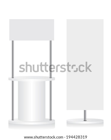 Promotion counter and flag illustration - stock vector