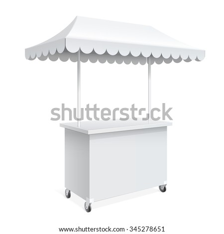 Promotion counter on wheels and a triangular roof covered with awning, Retail Trade Stand Isolated on the white background. MockUp Template For Your Design. Vector illustration. - stock vector