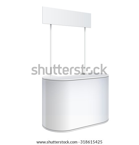 Promotion counter, Retail Trade Stand Isolated on the white background. Mock Up Template. Vector illustration. - stock vector
