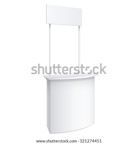 Promotion counter, Retail Trade Stand Isolated on the white background. MockUp Template For Your Design. Vector illustration. - stock vector