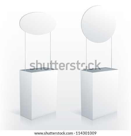 Promotion counter table with round topper. Vector promo stand. - stock vector