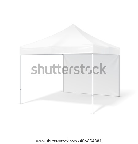 Promotional Advertising Outdoor Event Trade Show Pop-Up Tent Mobile Advertising Marquee. Mock Up, Template. Illustration Isolated On White Background. Ready For Your Design. Product Packing. Vector - stock vector