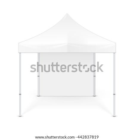 Promotional Advertising Outdoor Event Trade Show Pop-Up Tent Mobile Advertising Marquee. Mock Up, Template. Illustration Isolated On White Background. Ready For Your Design. Product Advertising Vector