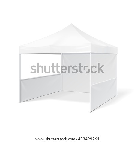 Promotional Advertising Outdoor Event Trade Show Pop-Up Tent Mobile Marquee. Mock Up, Template. Illustration Isolated On White Background. Ready For Your Design. Product Advertising. Vector EPS10