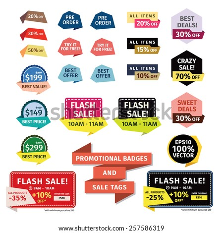 Promotional Badges and Sale Tags. Promotional badges and sale tags for your designs, such us for online shop, email newsletter or email marketing, web banner, print ad, etc. - stock vector