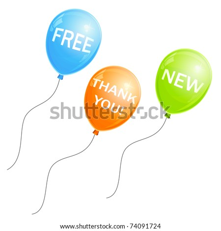 Promotional balloons with text (eps8) - stock vector