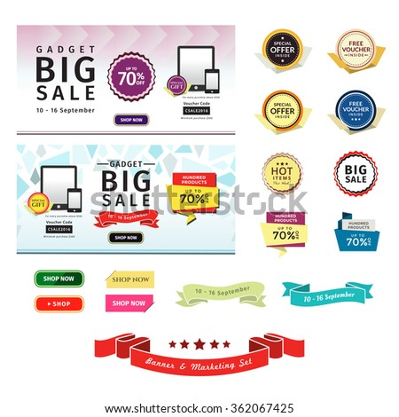 Promotional Banner & Marketing Set. This set contains badges, sale tags, buttons, and banners for your designs, such us for online shop, email newsletter or email marketing, web banner, print ad, etc. - stock vector