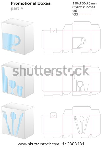 promotional boxes part 4 - stock vector