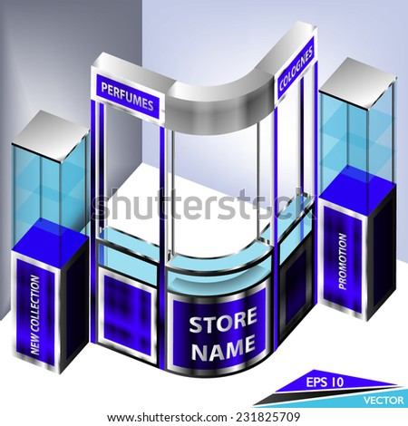 Promotional Perfumes Exhibition Kiosk Booth - stock vector