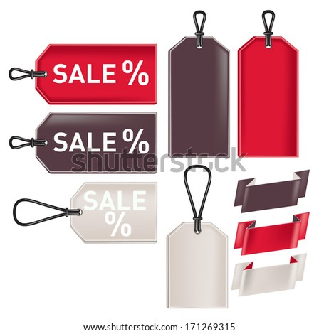promotional sale tags and ribbons isolated on white background