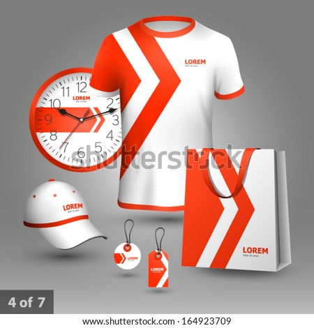 Promotional souvenirs design for company with red arrows. Elements of stationery. - stock vector
