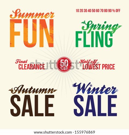 Promotional vintage typography sale elements logos for signage or web advertising that read summer fun spring fling final clearance 50 percent off half off lowest price autumn and winter sales. - stock vector