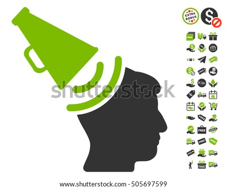 Propaganda Megaphone icon with free bonus pictograph collection. Vector illustration style is flat iconic symbols, eco green and gray colors, white background.