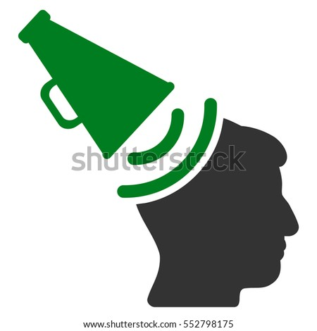Propaganda Megaphone vector icon. Style is flat graphic bicolor symbol, green and gray colors, white background.