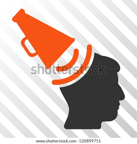 Propaganda Megaphone vector pictogram. Illustration style is flat iconic bicolor orange and gray symbol on a hatch transparent background.