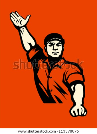 Propaganda poster with agitated worker in red - stock vector