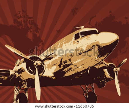 Propeller bomber vector illustration - stock vector